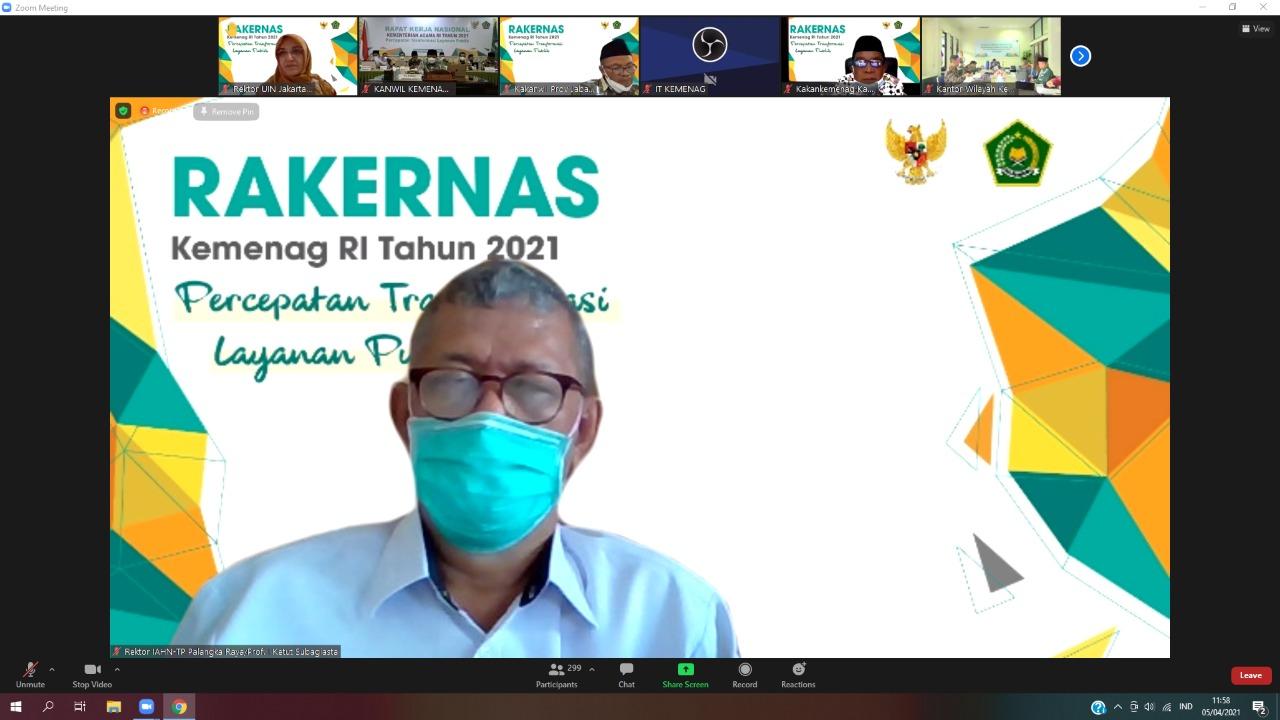 Rektor Menghadiri Rakernas Kemenag RI secara Virtual